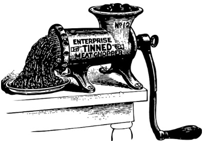 A meat grinder on a table