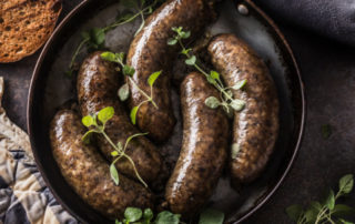 Jaternice sausage in a pan