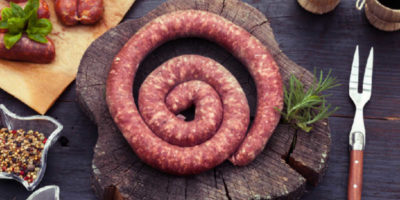 A coil of Toulousse sausage.